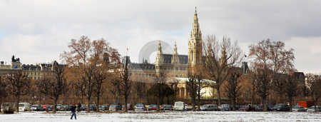Viennese Landmarks  stock photo, The Town Hall (Wien Rathaus) buildings in Vienna, Austria across a snow covered park. Cloudy day at the end of winter. Panoramic image by Sean Nel