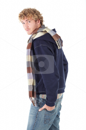 Portrait of Caucasian man stock photo, Portrait of handsome Caucasian man wearing casual winter clothes on white background. NOT ISOLATED by Sean Nel