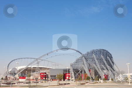 Outside Khalifa stadium stock photo, Outside Khalifa sports stadium in Doha, Qatar, Middle East, where the 2006 Asian games were hosted and location for the proposed 2016 Olympic Games (wide angle lens distortion on edges) HDR type Image by Sean Nel