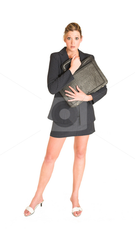Laura Hopton #22 stock photo, Business woman holding black leather suitcase by Sean Nel