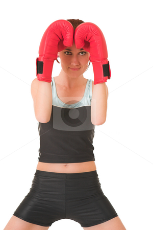 Gym #68 stock photo, Woman wearing boxing gloves, looking friendly by Sean Nel