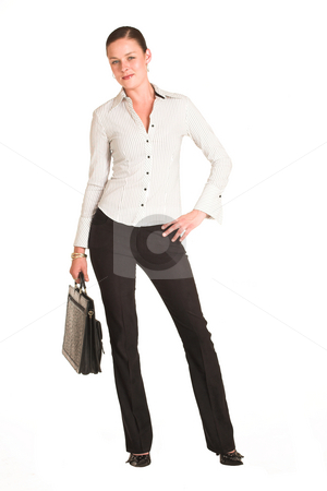 Business Woman #27 stock photo, Business woman dressed in a white pinstripe shirt.  Holding leather suitcase by Sean Nel
