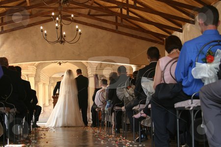 The wedding ceremony stock photo, Wedding ceremony in beautiful chapel by Sean Nel