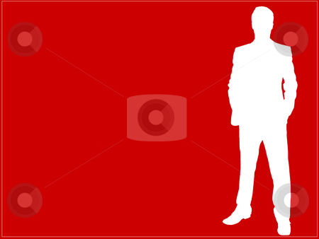 Businessman #120 stock photo, Businessman standing with hands in his pockets - red background, outlined by Sean Nel