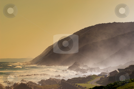 Seascape #1 stock photo, Sunset at the beach on a windy day by Sean Nel