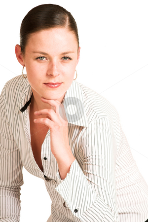 Business Woman #40 stock photo, Business woman dressed in a white pinstripe shirt. by Sean Nel