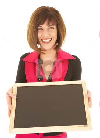 Sexy brunette businesswoman stock photo, Sexy young adult Caucasian businesswoman in a red and black office outfit against a white background holding an empty chalkboard with copy space. NOT ISOLATED by Sean Nel