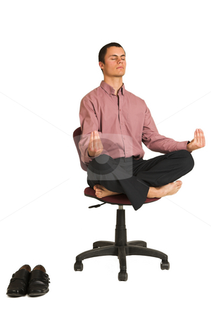 Business Yoga #182 stock photo, Business man fighting tension / relaxing / meditating by Sean Nel