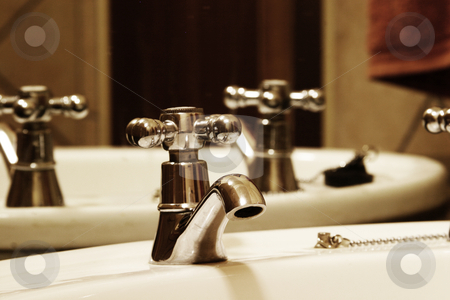 Bathroom Tap stock photo, Tap and basin in bathroom by Sean Nel