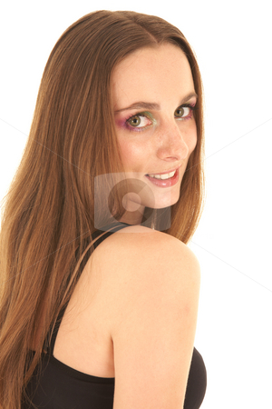 Sexy brunette businesswoman stock photo, Sexy young adult Caucasian businesswoman in a tight black sexy top on a white background seen from behind, looking over her shoulder by Sean Nel