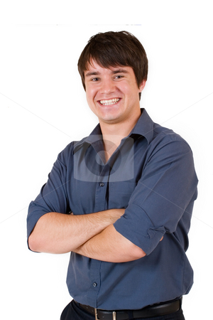 Businessman #55 stock photo, Businessman in blue shirt, arms crossed by Sean Nel