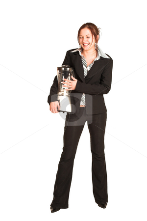 Business Woman #352 stock photo, Business woman with brown hair, dressed in a white shirt with black stripes. Holding a blender. by Sean Nel