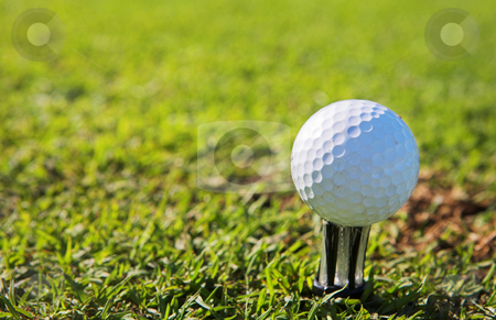 Golfer #46 stock photo, A close-up of a golf ball on a golf tee.  Shallow D.O.F - ball in focus, background out of focus. by Sean Nel