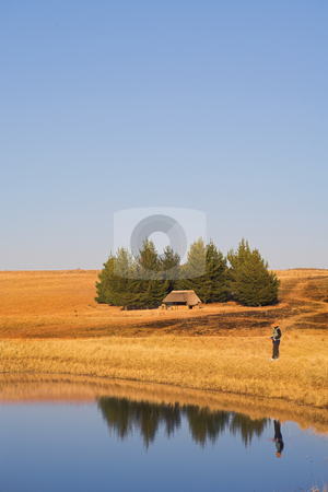 Flyfish #50 stock photo, A fly fisherman casting a line in Dullstroom, South Africa by Sean Nel