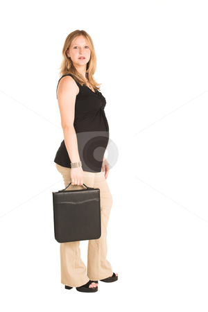 Business Woman #500 stock photo, Pregnant Business Woman, wearing black top and beige pants.  Standing, holding leather file suitcase. by Sean Nel