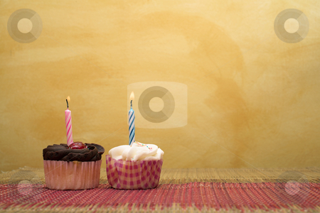 Cupcakes #9 stock photo, Two cupcakes on pink and brown table cloth in front of  wall - copy space by Sean Nel