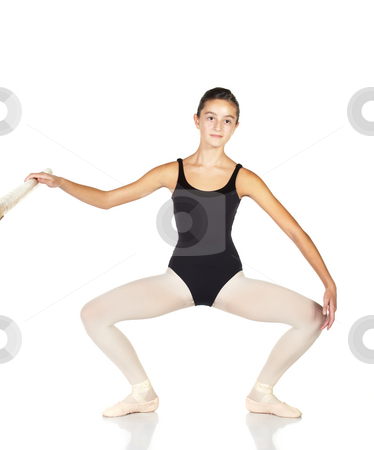 Ballet Steps stock photo, Young caucasian ballerina girl on white background and reflective white floor showing various ballet steps and positions. Full Plie in Second. Not Isolated. by Sean Nel