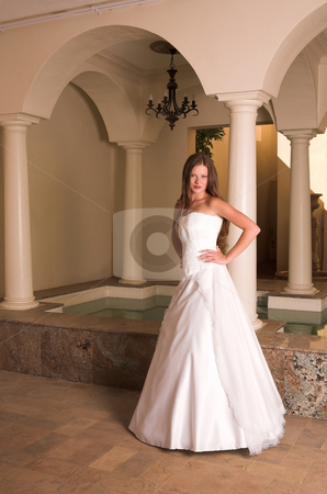 Beautiful young bride stock photo, Slim beautiful adult woman with long brown, curly hair wearing luxurious silk wedding dress on location by Sean Nel