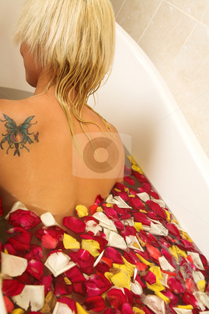Woman #192 stock photo, Nude woman in a bath. by Sean Nel