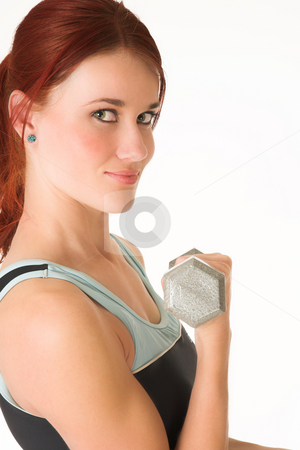 Gym #16 stock photo, A woman in gym clothes, training with weights by Sean Nel