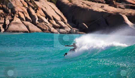 Western Cape Surfer #2 stock photo, Surfer on a stormy seas in Landudno, Western Cape  by Sean Nel