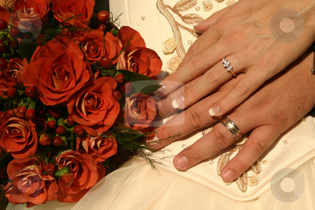New wedding rings stock photo, Wedding rings on display by Sean Nel