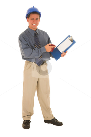 Businessman #113 stock photo, Man presenting work on clipboard. by Sean Nel