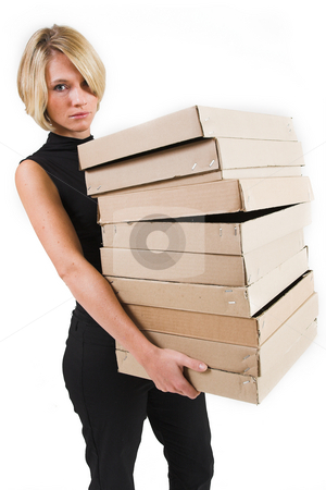 Business Lady #24 stock photo, Blond Business woman carrying boxes by Sean Nel