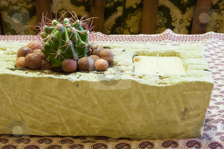 Table setting #2 stock photo, Raw Granite block with candle and cactus by Sean Nel