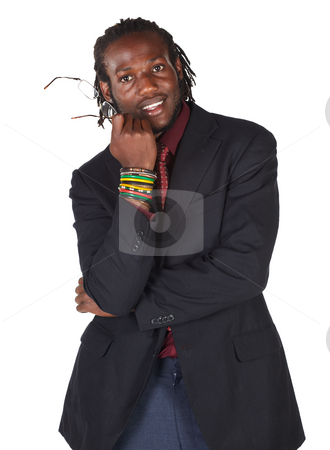 Handsome African businessman stock photo, Handsome African businessman in suit wearing glasses on white background. NOT ISOLATED by Sean Nel