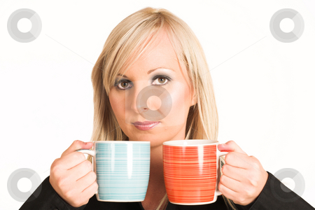 Business Woman #303 stock photo, Blond business woman dressed in black trousers and a black shirt.  Holding two mugs. by Sean Nel