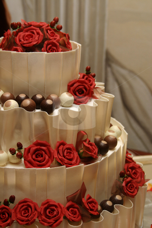 Wedding cake stock photo, White chocolate wedding cake by Sean Nel