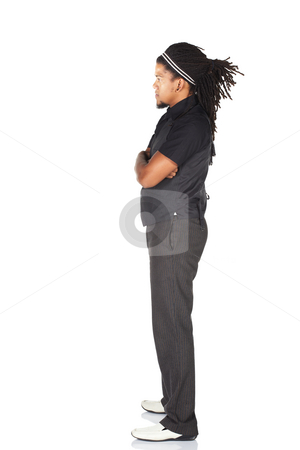 Handsome African businessman stock photo, Handsome African businessman with long hair in black suit on white background. NOT ISOLATED by Sean Nel