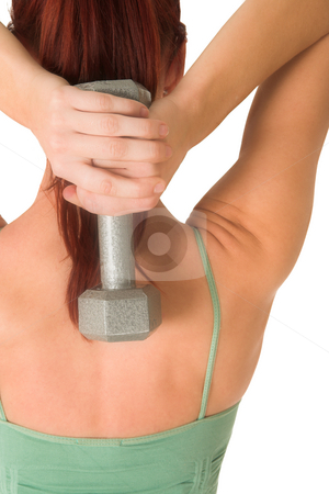 Gym #86 stock photo, Woman holding weight. by Sean Nel