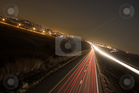 Roads #9 stock photo, Light trails on highway by Sean Nel
