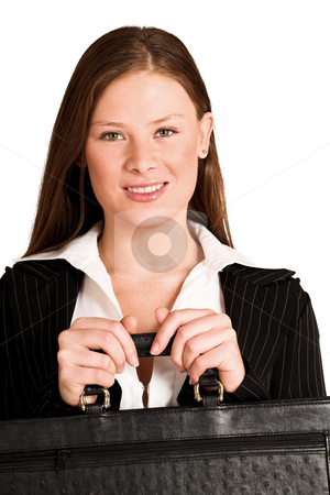 Business Woman #200(GS) stock photo, Business woman dressed in suit, holding a black leather suitcase. by Sean Nel