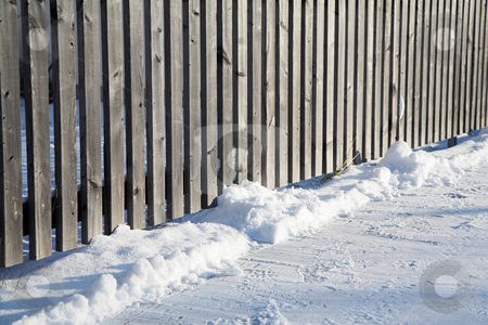 Munich #09 stock photo, Fence in Munich and snow on the ground. Shallow depth of field. by Sean Nel