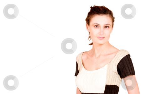 Business Lady #115 stock photo, Business woman with knitted brown, and beige top. by Sean Nel
