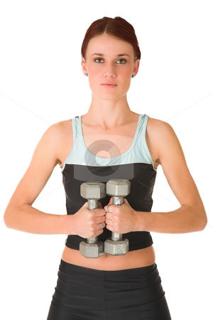 Gym #102 stock photo, Woman standing with weights. by Sean Nel