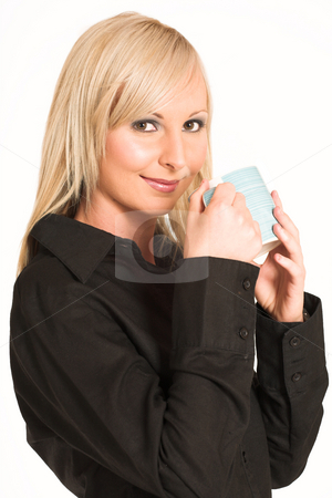 Business Woman #300 stock photo, Blond business woman dressed in black trousers and a black shirt. Drinking out of a mug. by Sean Nel