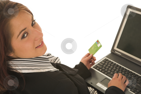 Ecommerce #03 stock photo, Woman on notebook computer with Credit Card by Sean Nel
