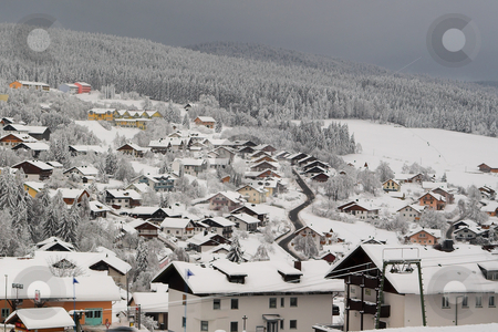 Snow Landscape #9 stock photo, The town of Kirchberg by Sean Nel