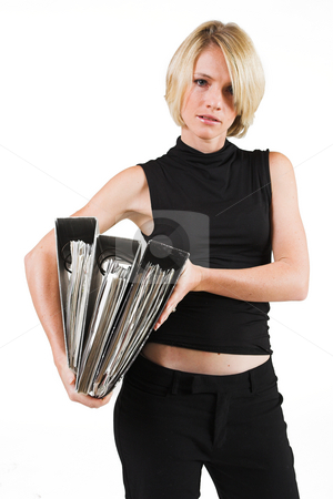Business Lady #33 stock photo, Blond Business woman carrying files by Sean Nel