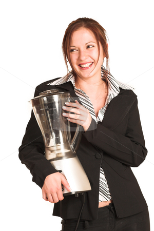 Business Woman #340 stock photo, Business woman with brown hair, dressed in a white shirt with black stripes. Holding a blender, Laughing by Sean Nel
