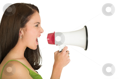 Businesswoman #546 stock photo, Portrait of a brunette  woman,, wearing a green top, holding a megaphone by Sean Nel