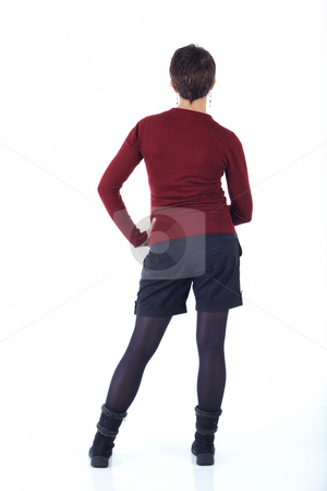Young adult woman stock photo, Cute young adult caucasian woman with short hair in a red top, black shorts and stockings on a white background in various poses, with various facial expressions. Not Isolated by Sean Nel
