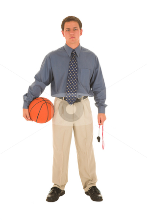 Business man #17 stock photo, Man in formal wear holding basked ball and whistle by Sean Nel
