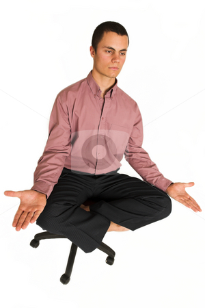 Business Yoga #185 stock photo, Business man fighting tension / relaxing / meditating by Sean Nel