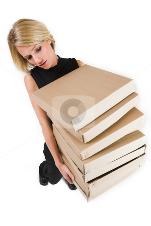 Business Lady #23 stock photo, Blond Business woman carrying boxes by Sean Nel