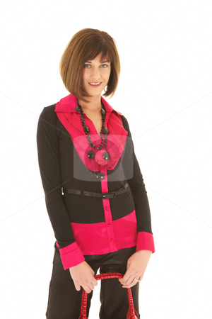 Sexy brunette businesswoman stock photo, Sexy young adult Caucasian businesswoman in a red and black office outfit against a white background. NOT ISOLATED by Sean Nel